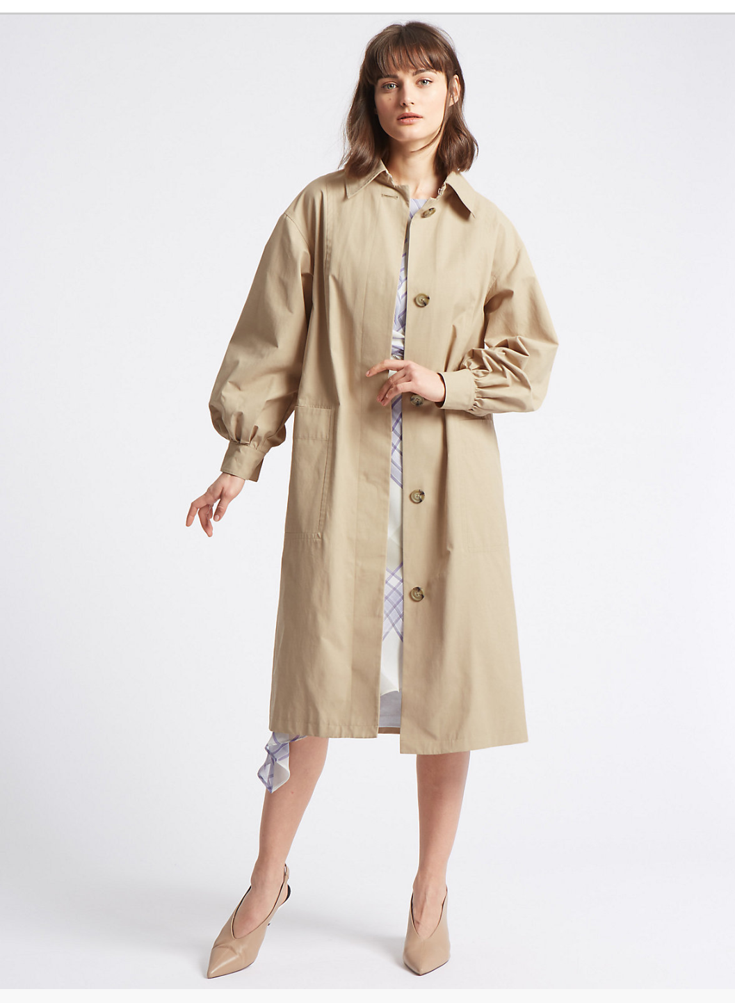 M&S COTTON RICH PUFF SLEEVE TRENCH
